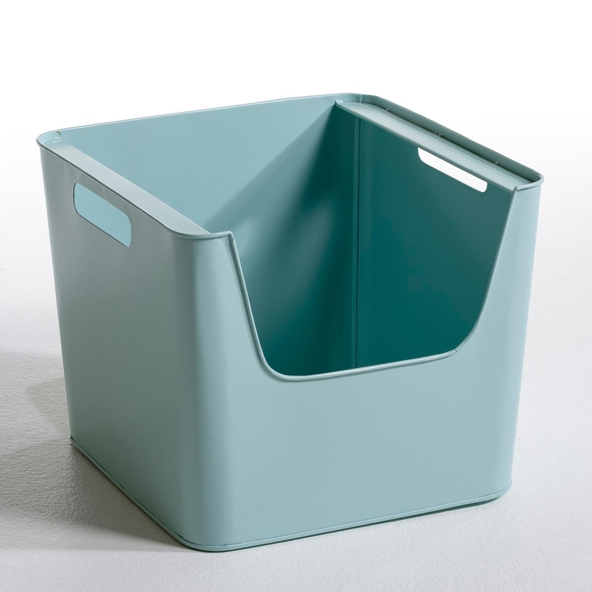 Ящик металлический Д37 x В31,5 см   ArregloНовая коллекция с закруглёнными углами в современном и одновременно в стиле ретро, простота и 7 нежных скандинавских расцветок ! Ящик большой из оцинкованного металла или покрыт эпоксидной краской с матовым эффектом. Рельефный штамп AM.PM. Характеристики ящика :- Ставятся один на другой.- Прорези по бокам для удобства переноски.Размеры  :-Д.37 x В.31,5 x гл.37 см..<br><br>Цвет: зелено-голубой матовый,серый,телесный матовый<br>Размер: единый размер