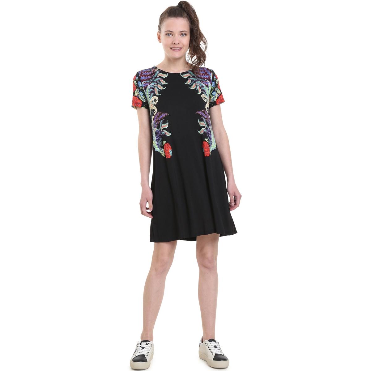 Платье-клеш с цветочным принтом, короткое
