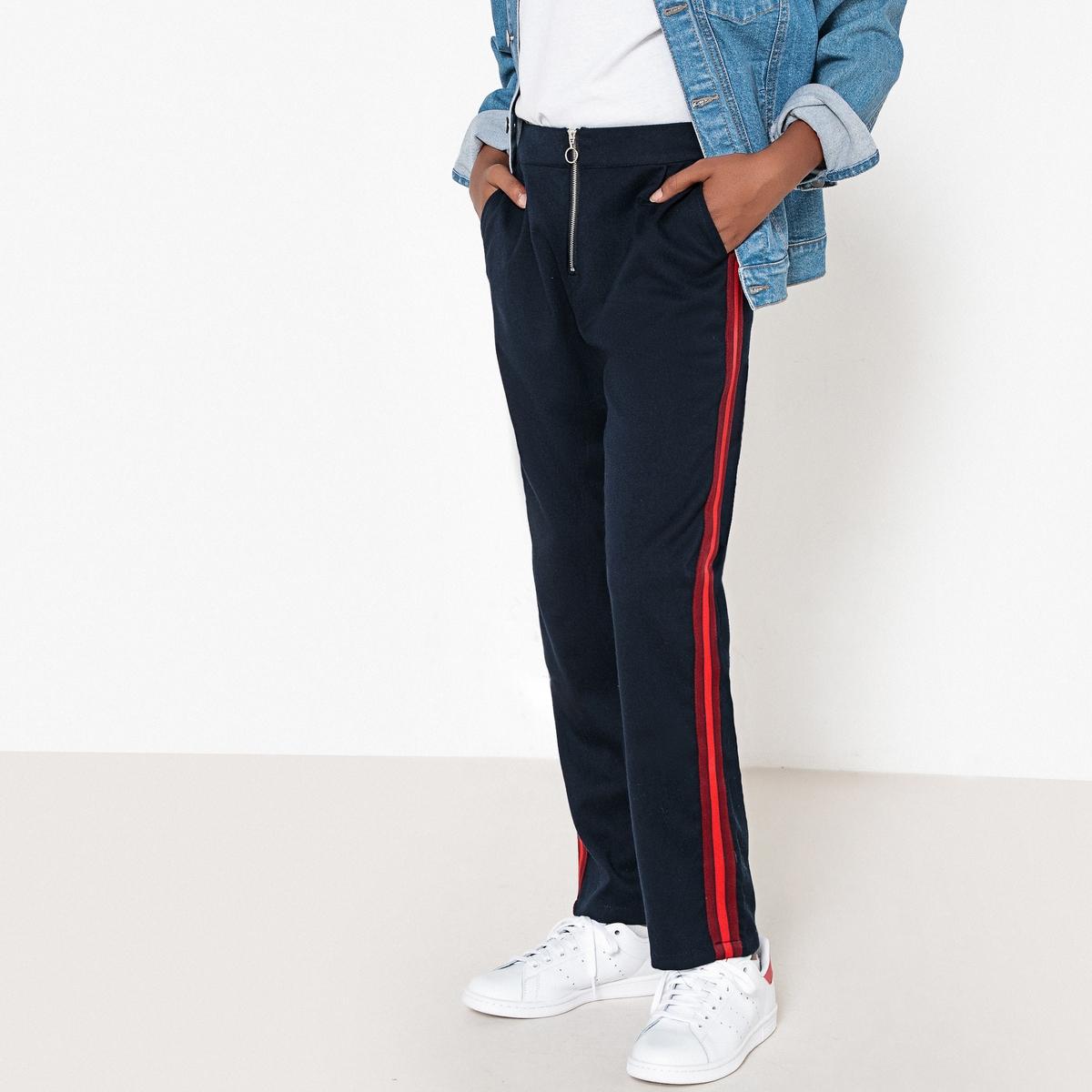 Брюки с застежкой на молнию и полосами по бокам, 10-16 лет прямые брюки с застежкой на молнию cristina effe прямые брюки с застежкой на молнию