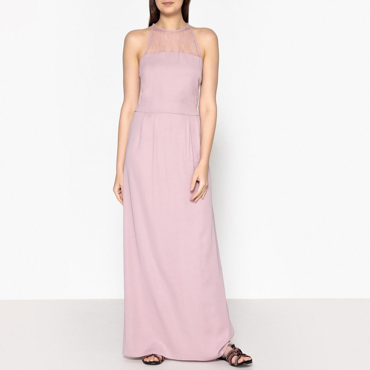 Платье длинное без рукавов из кружева BINA платье без рукавов с кружевной вставкой на спинке
