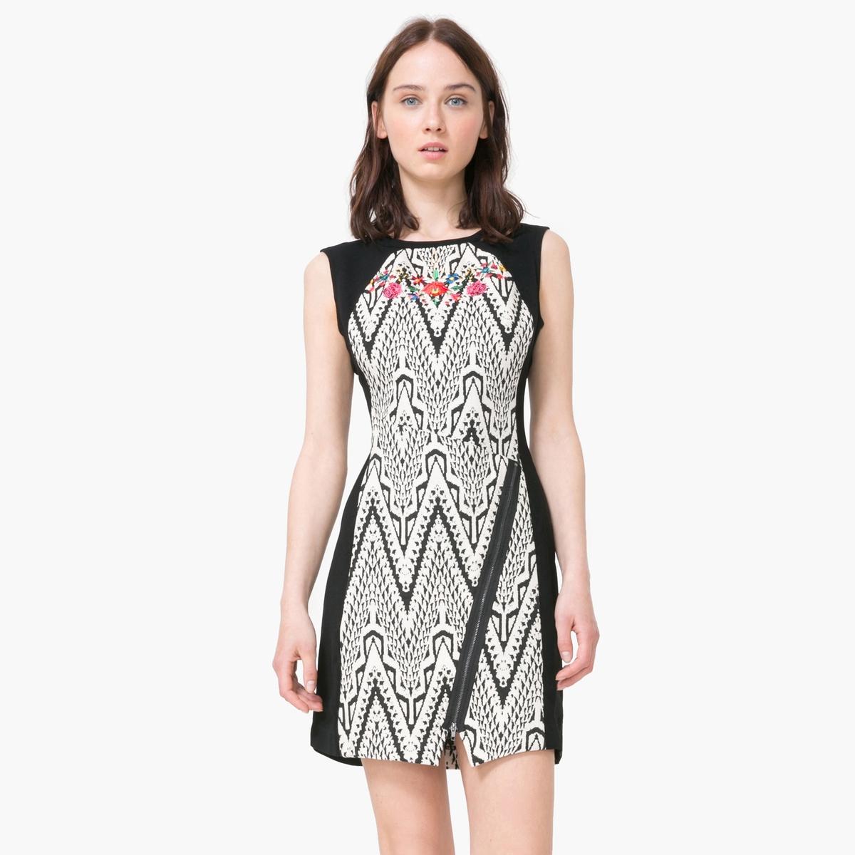цены  Платье без рукавов с графическим рисунком