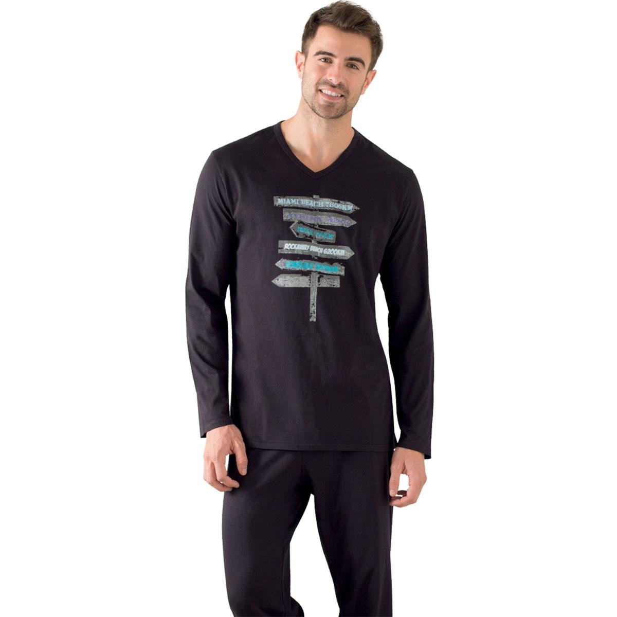 Пижама длинная с длинными рукавами, футболка с рисункомОписание:Длинная мужская пижама Athena, стильная и комфортная, с футболкой с юмористическим рисунком и длинными рукавами: да здравствует ночь!Состав и описание:Пижама длинная. Футболка с рисунком и длинными рукавами. Брюки с эластичным поясом??Материал:  100 % хлопок. Джерси Марка: ATHENAУход: стирать при 40° с вещами схожих цветов.Стирка и глажка с изнаночной стороны.Машинная сушка запрещена.<br><br>Цвет: синий/темно-синий,черный/ черный<br>Размер: M.XXL
