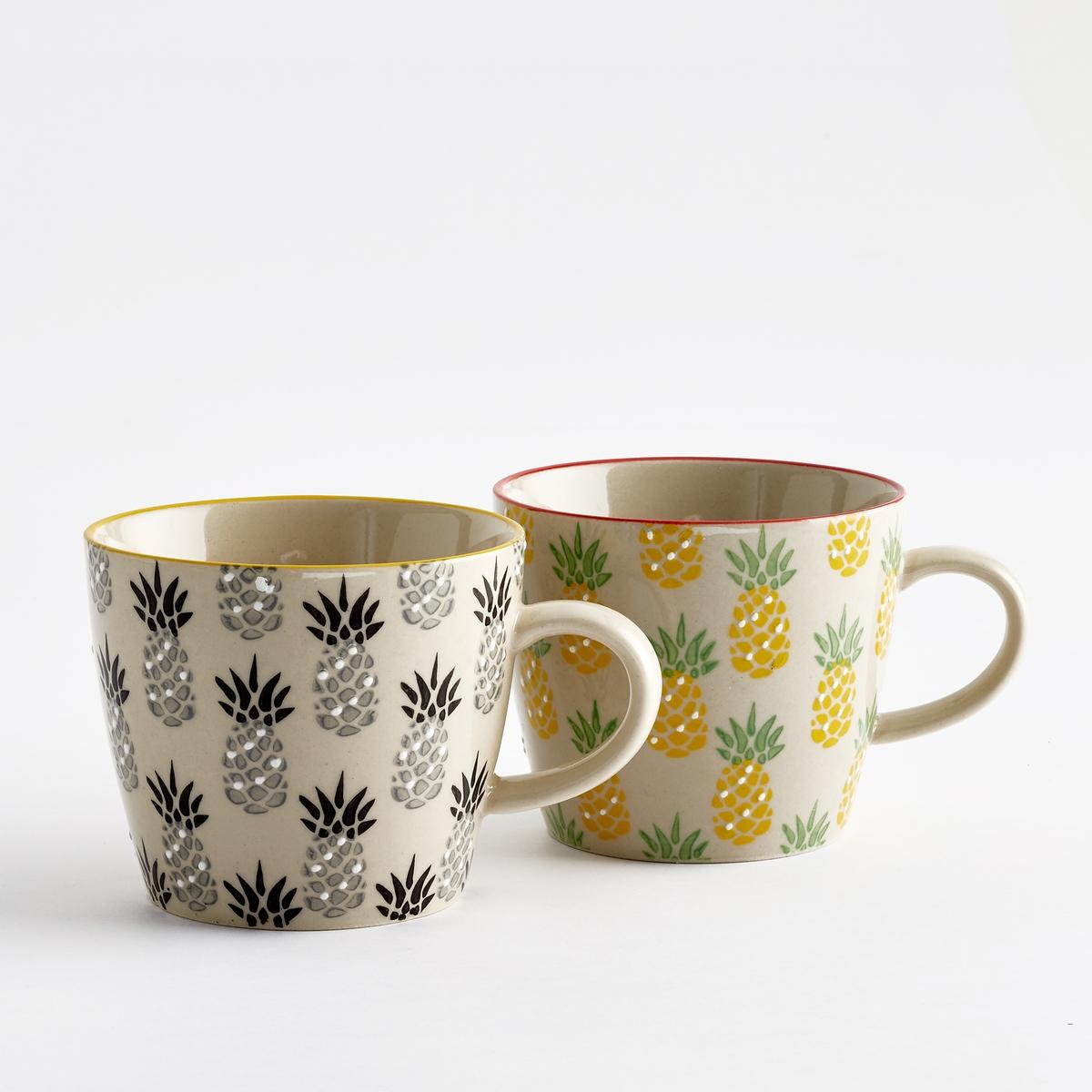 4 чашки из керамики TossitaХарактеристики 4 чашек из керамики Tossita :Рисунок ананас.Комплект из 4 чашек состоит из 2 чашек с рисунком ананас черного и серого цвета + 2 тарелки с рисунком зеленого и желтого цвета  Размеры 4 чашек из керамики Tossita :Диаметр. 9,5 x высота 8 см.Другие чашки и наши коллекции предметов декора стола вы можете найти на сайте laredoute.ru<br><br>Цвет: набивной рисунок