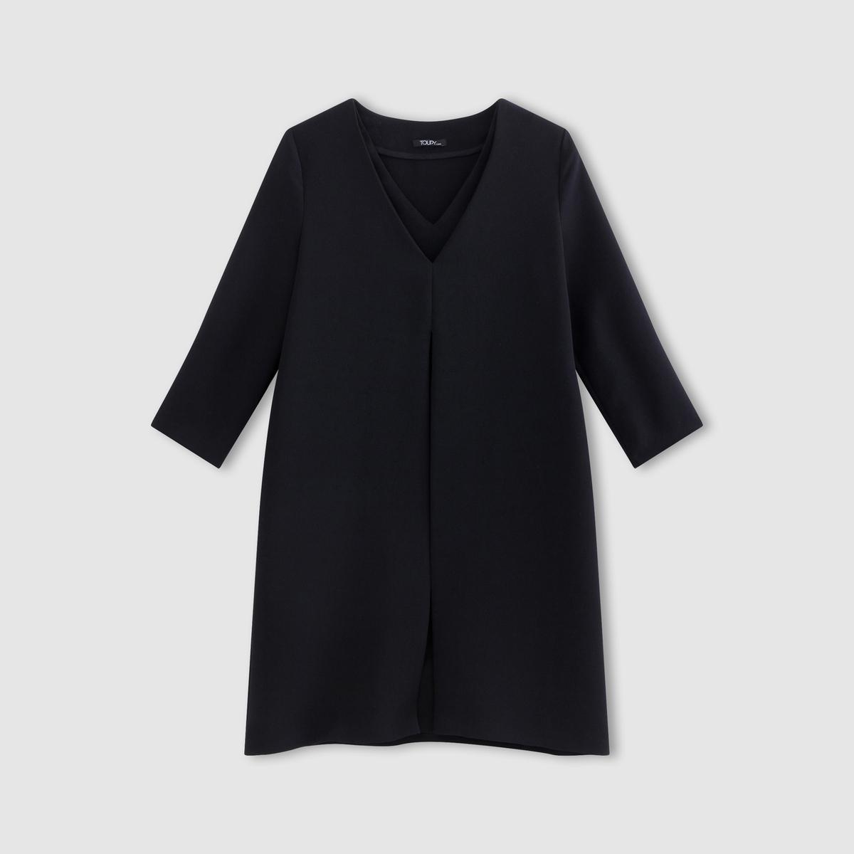 Платье PERINEПлатье PERINE от TOUPY, 100% полиэстер. Рукава 3/4, V-образный вырез. 2 кармана.<br><br>Цвет: кобальтовый синий<br>Размер: XS.XL