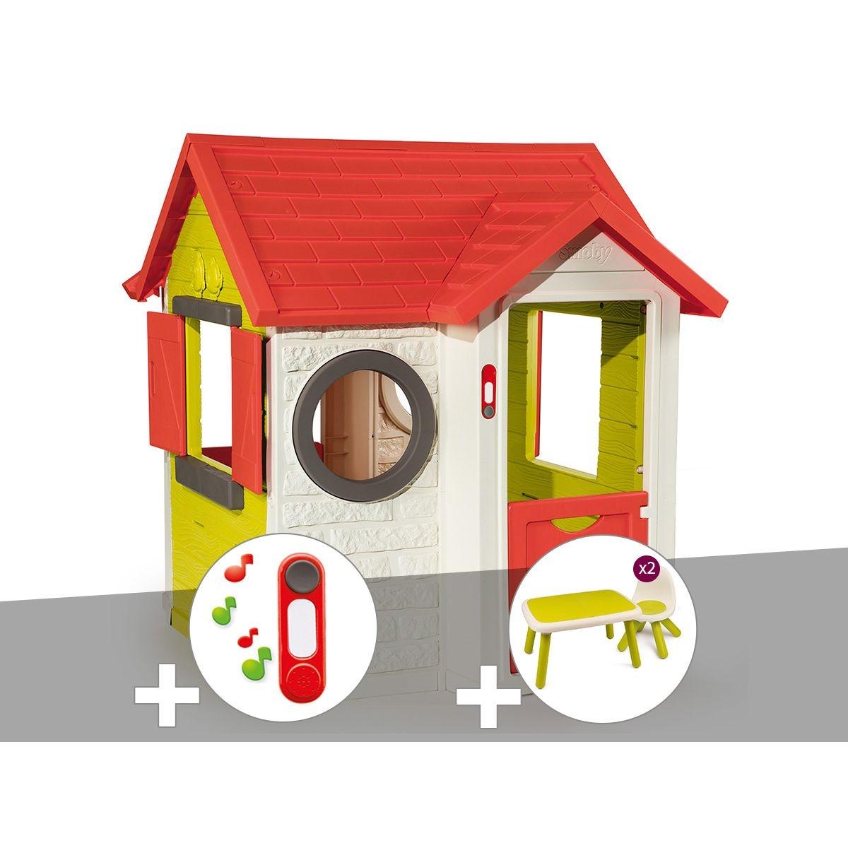 Cabane enfant My House - Smoby + Sonnette + Table et 2 chaises