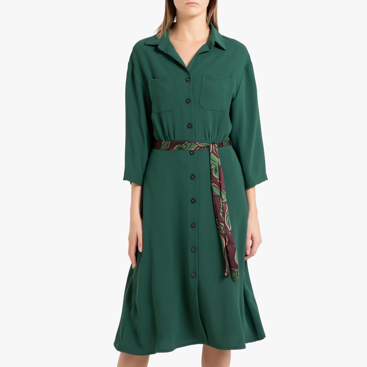 Платье-рубашка La Redoute С застежкой на пуговицы LOUISETTE M зеленый легкая рубашка с застежкой на пуговицы biriz легкая рубашка с застежкой на пуговицы page 5 page 4