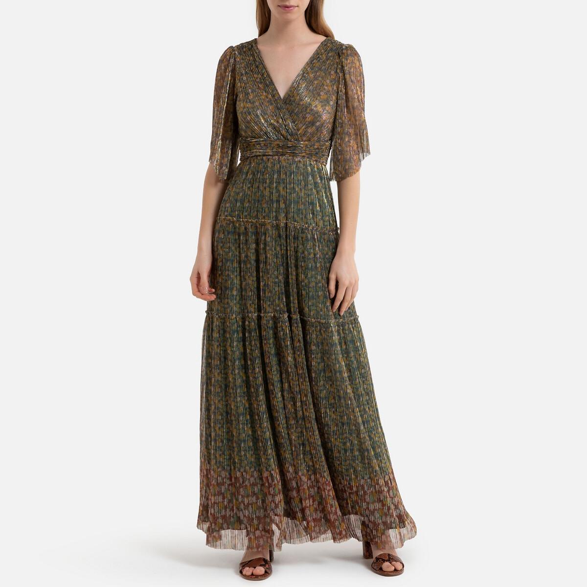Платье La Redoute Длинное с короткими рукавами PERLA DRESS 3(L) зеленый