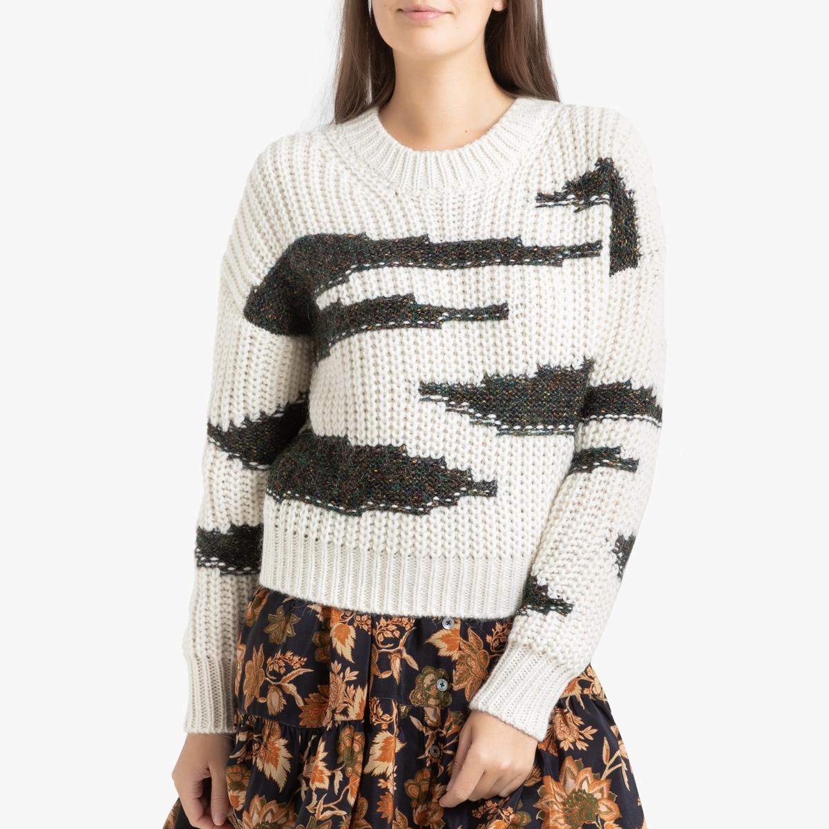 Пуловер La Redoute С круглым вырезом из трикотажа CACILIE 1(S) бежевый пуловер la redoute с круглым вырезом из плотного трикотажа 3xl бежевый