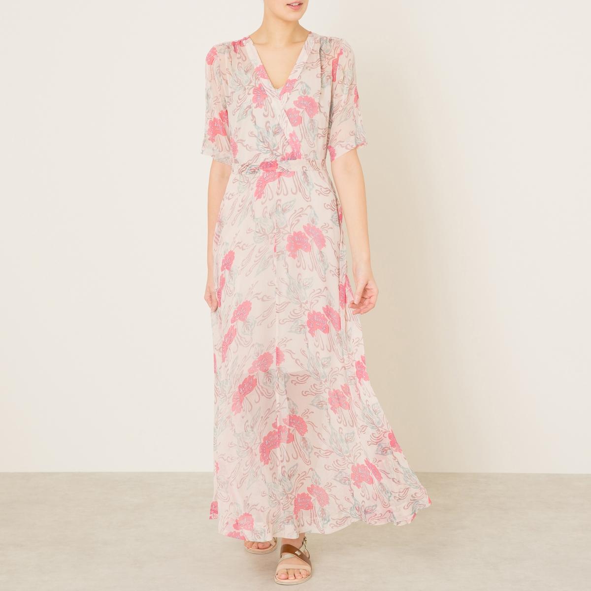 Платье длинное с рисунком STELLA FOREST. Цвет: экрю