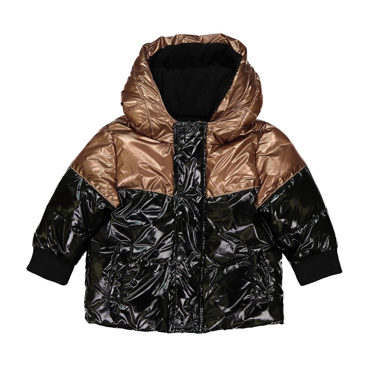цена Куртка La Redoute С капюшоном с металлическим отливом мес - лет 3 года - 94 см каштановый онлайн в 2017 году