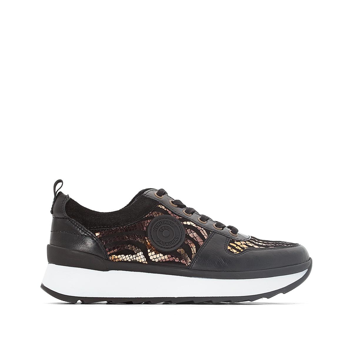 Кеды кожаные OceanДетали  •  Спортивный стиль •  Плоский каблук •  Высота каблука : 0 см •  Застежка : шнуровка.Состав и уход  •  Верх 100% козья кожа •  Подкладка 100% кожа •  Стелька 100% кожа •  Подошва 100% каучук<br><br>Цвет: черный<br>Размер: 39.40