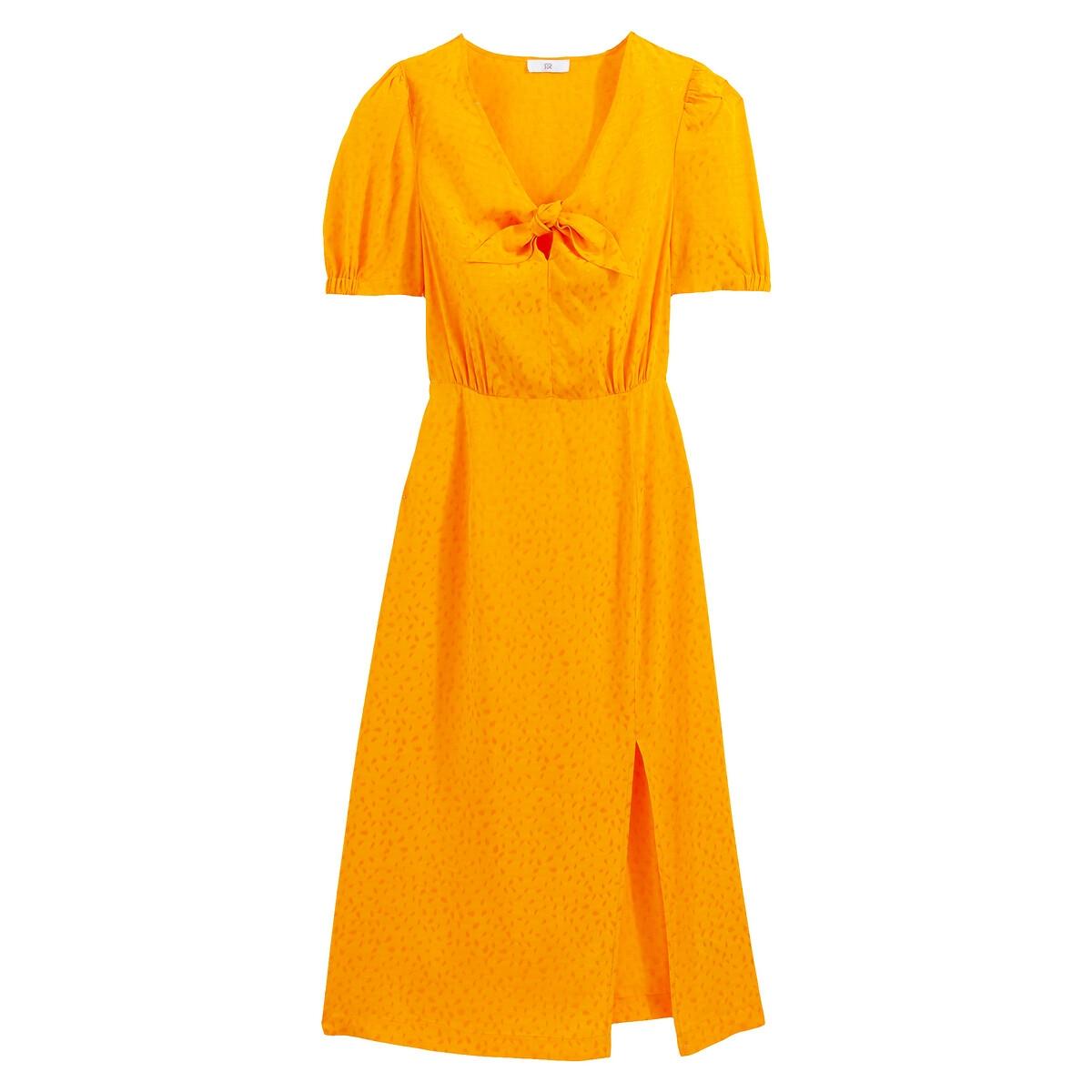 Vestido comprido de cerimónia, em tecido jacquard acetinado