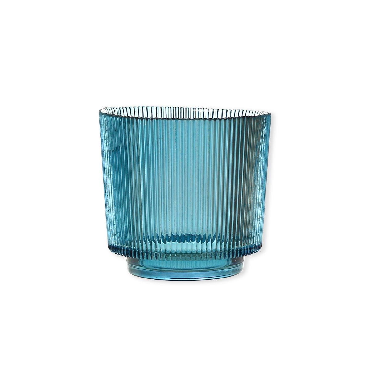 Photophore en verre bleu canard à relief 14cm - ASTER