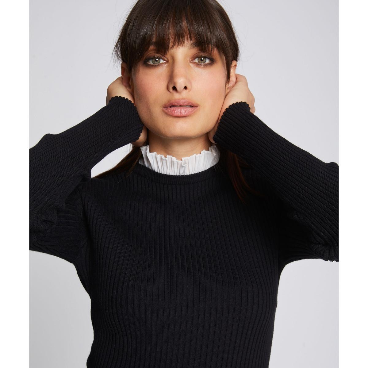 цена Пуловер La Redoute С длинными рукавами и воротником-стойкой из тонкого трикотажа M черный онлайн в 2017 году