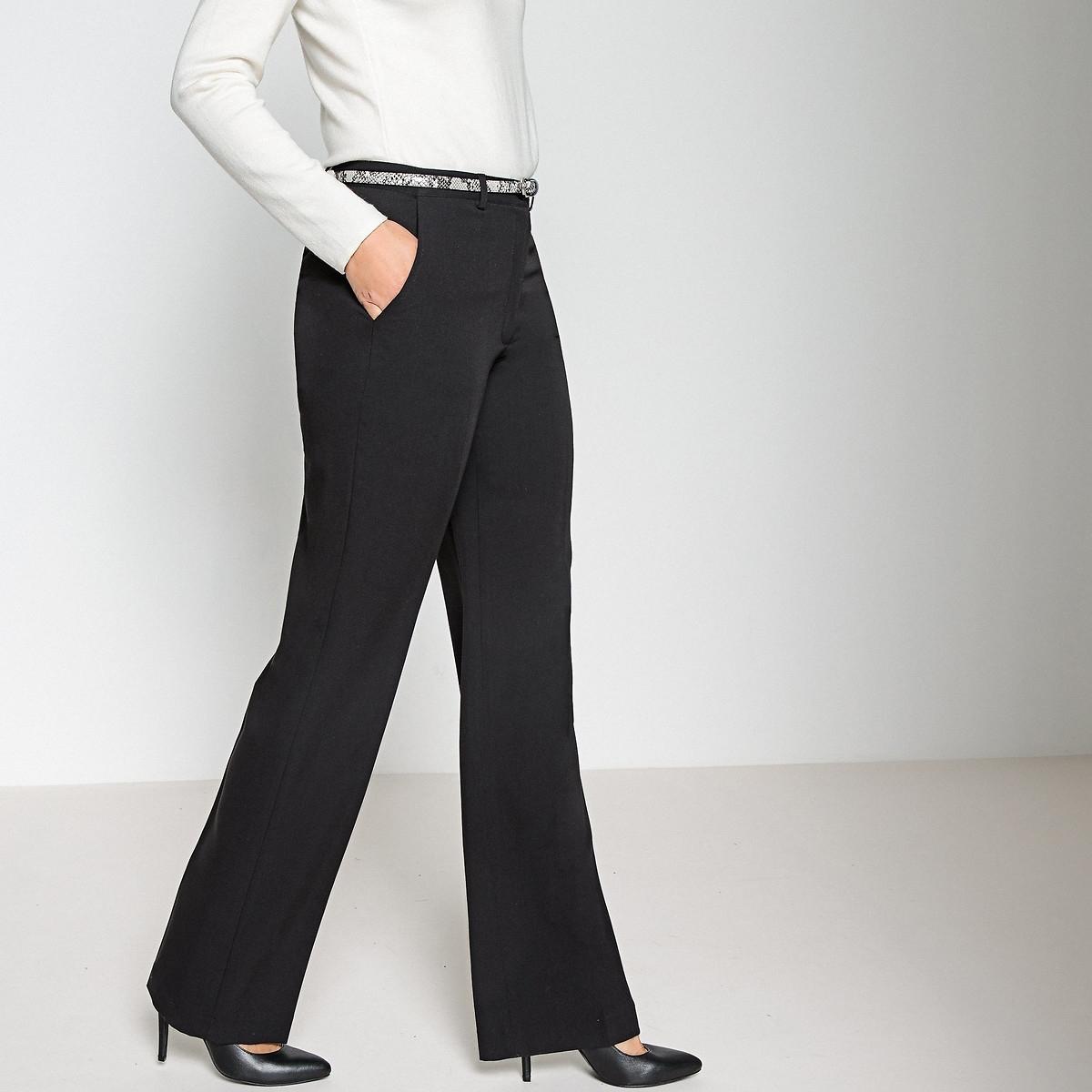 Фото - Брюки LaRedoute Широкие в городском стиле из поливискозы и эластана 48 (FR) - 54 (RUS) черный брюки в городском стиле из ткани стретч с удлиняющими вырезами