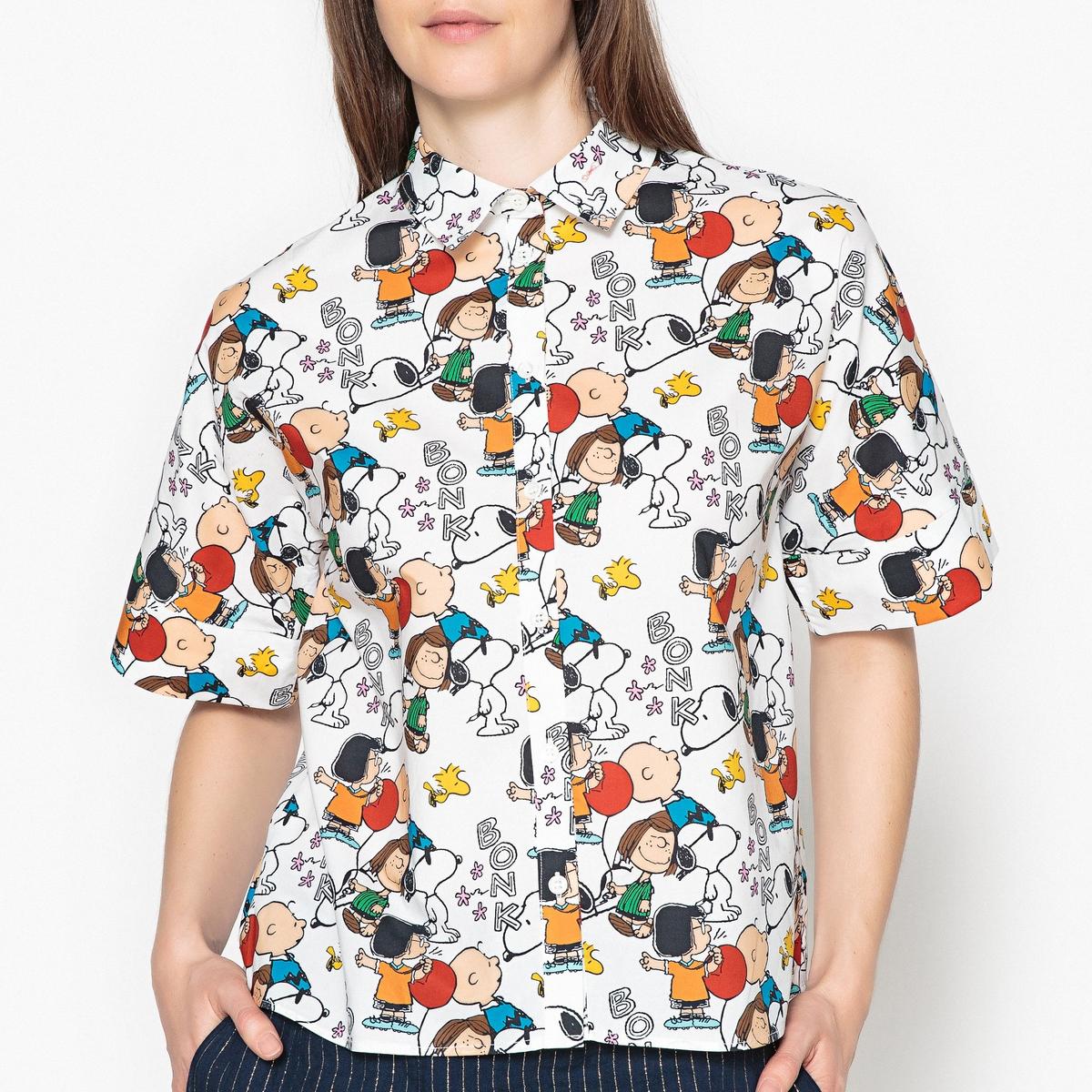 Рубашка с коротким рукавом с рисунком Snoopy PEANUTSРубашка с коротким рукавом от PAUL AND JOE SISTER - модель PEANUTS. Рисунок Snoopy спереди, широкая кромка на рукавах. Рубашка на пуговицах, воротник со свободными уголками.Детали •  Длинные рукава •  Прямой покрой •  Воротник-поло •  Рисунок-принт •  Уголки воротника на пуговицахСостав и уход •  100% хлопок •  Следуйте советам по уходу, указанным на этикетке •  Длина ок. 58 см. для размера 36<br><br>Цвет: белый