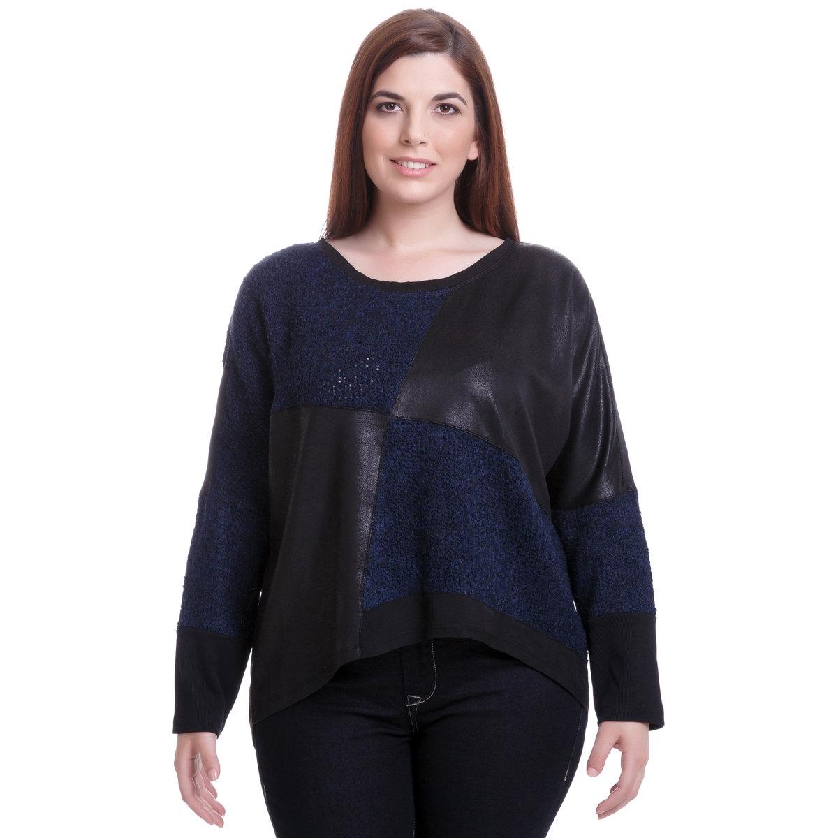 ПуловерПуловер с длинными рукавами MAT FASHION. Широкий покрой, фасон пэчворк с черным материалом под кожу. 94% полиэстера, 6% эластана<br><br>Цвет: синий<br>Размер: 44/48