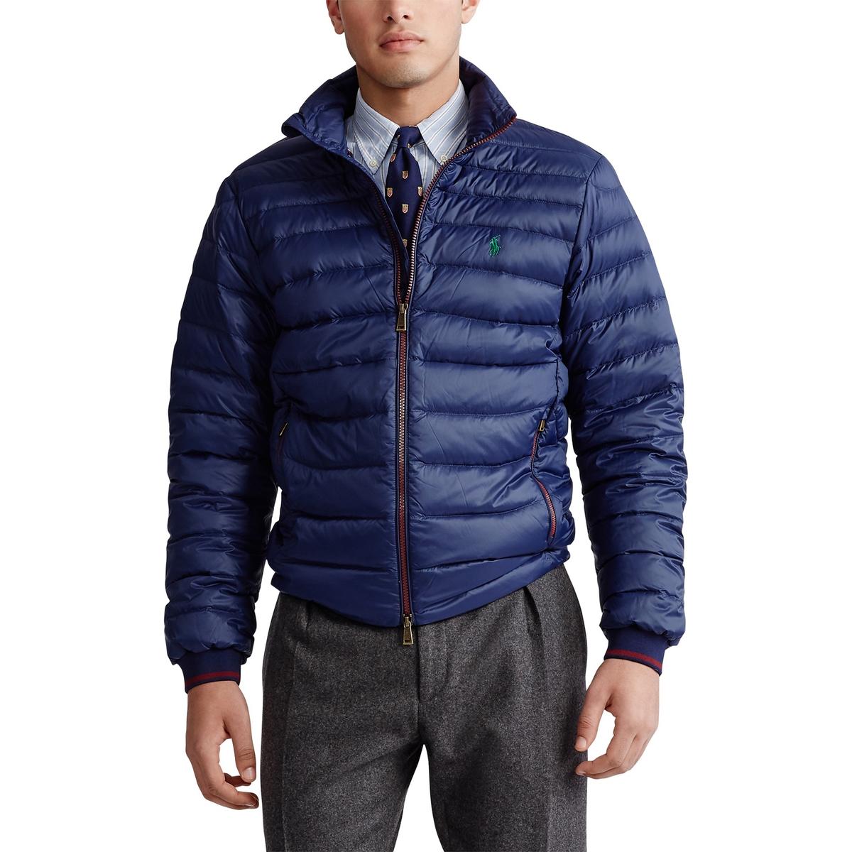 Куртка La Redoute Стеганая легкая на молнии с воротником-стойкой L синий куртка la redoute стеганая короткая nebraska с воротником стойкой на молнии s синий