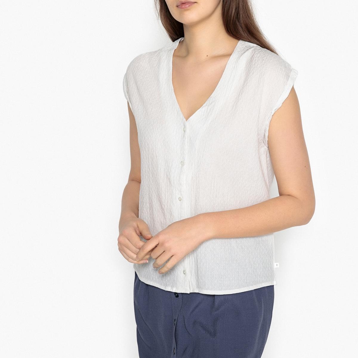 Блузка из тонкого хлопкового крепа LIBERAОписание:Блузка из хлопкового крепа HARRIS WILSON - модель LIBERA. Ткань придает блузке естественно воздушный внешний вид. V-образный вырез, короткие рукава с отворотамиДетали •  Короткие рукава •  Прямой покрой •  Рубашечный воротник-полоСостав и уход •  65% хлопка, 35% полиэстер •  Температура стирки при 30° на деликатном режиме<br><br>Цвет: экрю