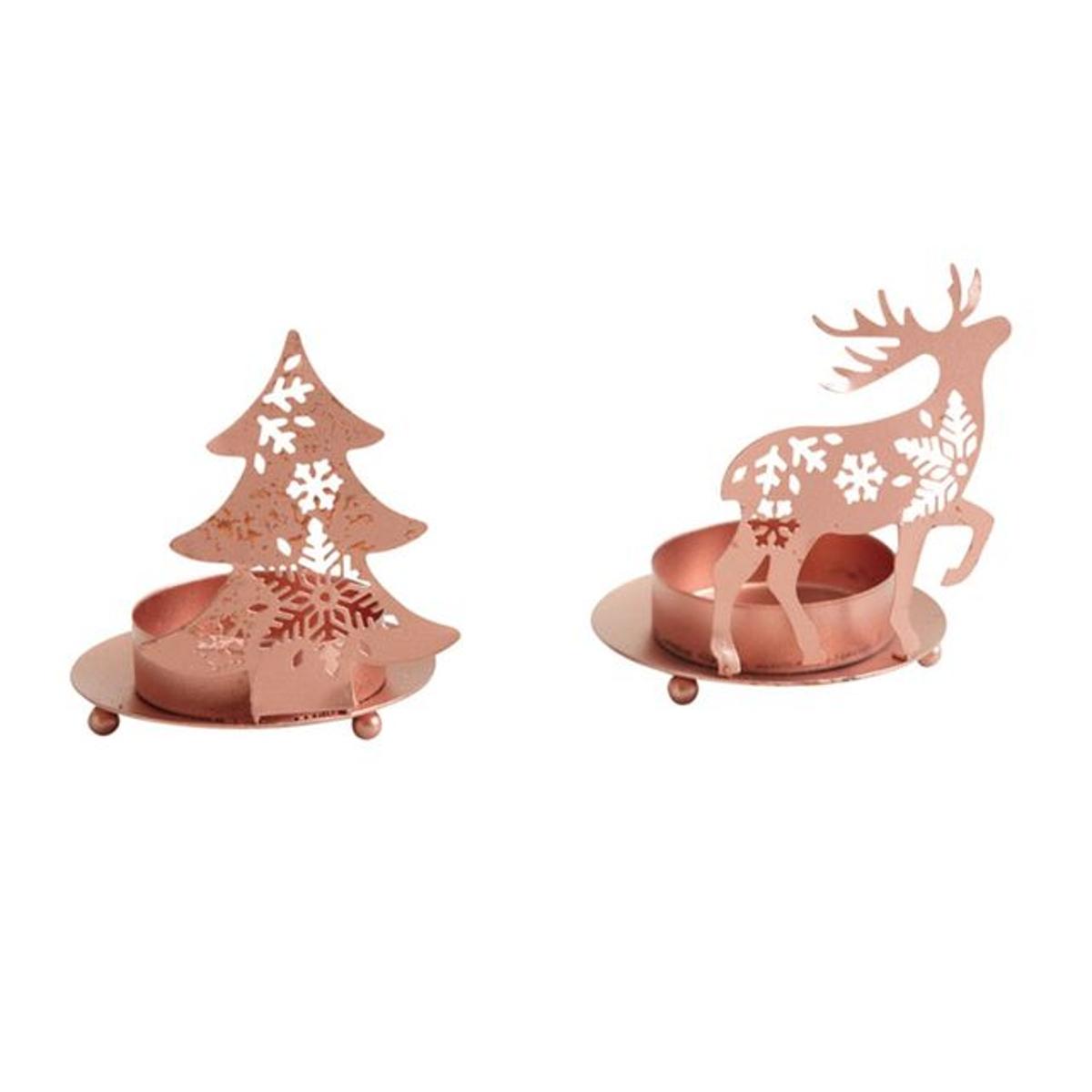 Photophore de Noël en métal cuivré (Lot de 2)