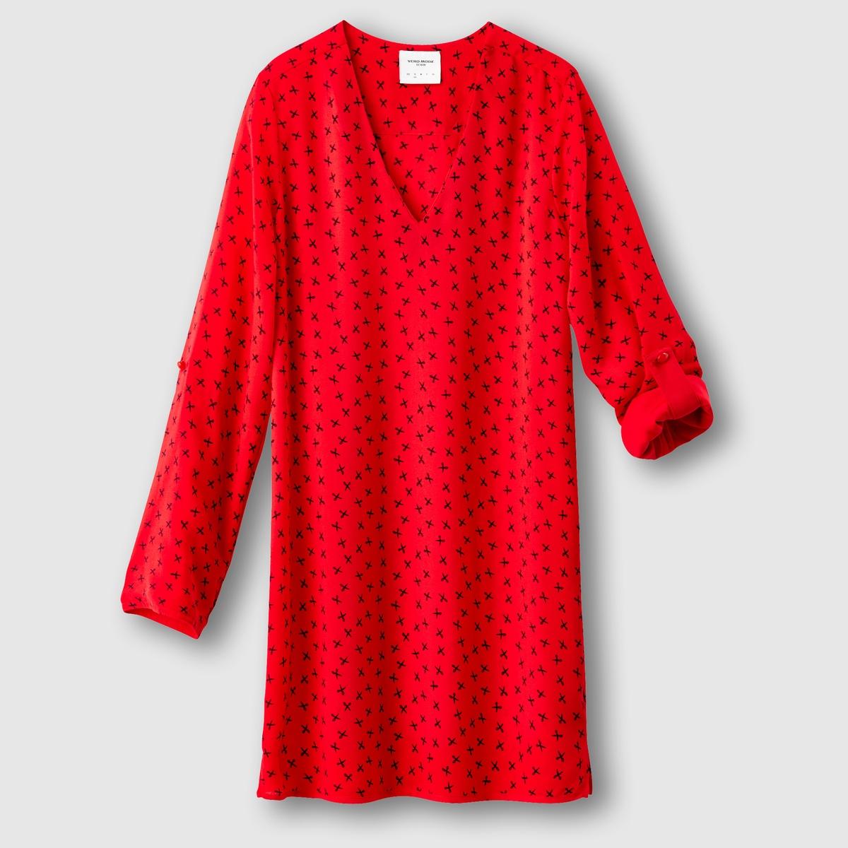Платье короткое с длинными рукавами VMSCISSORСостав и описаниеМарка : VERO MODAМатериал : 100% полиэстер<br><br>Цвет: красный<br>Размер: XS
