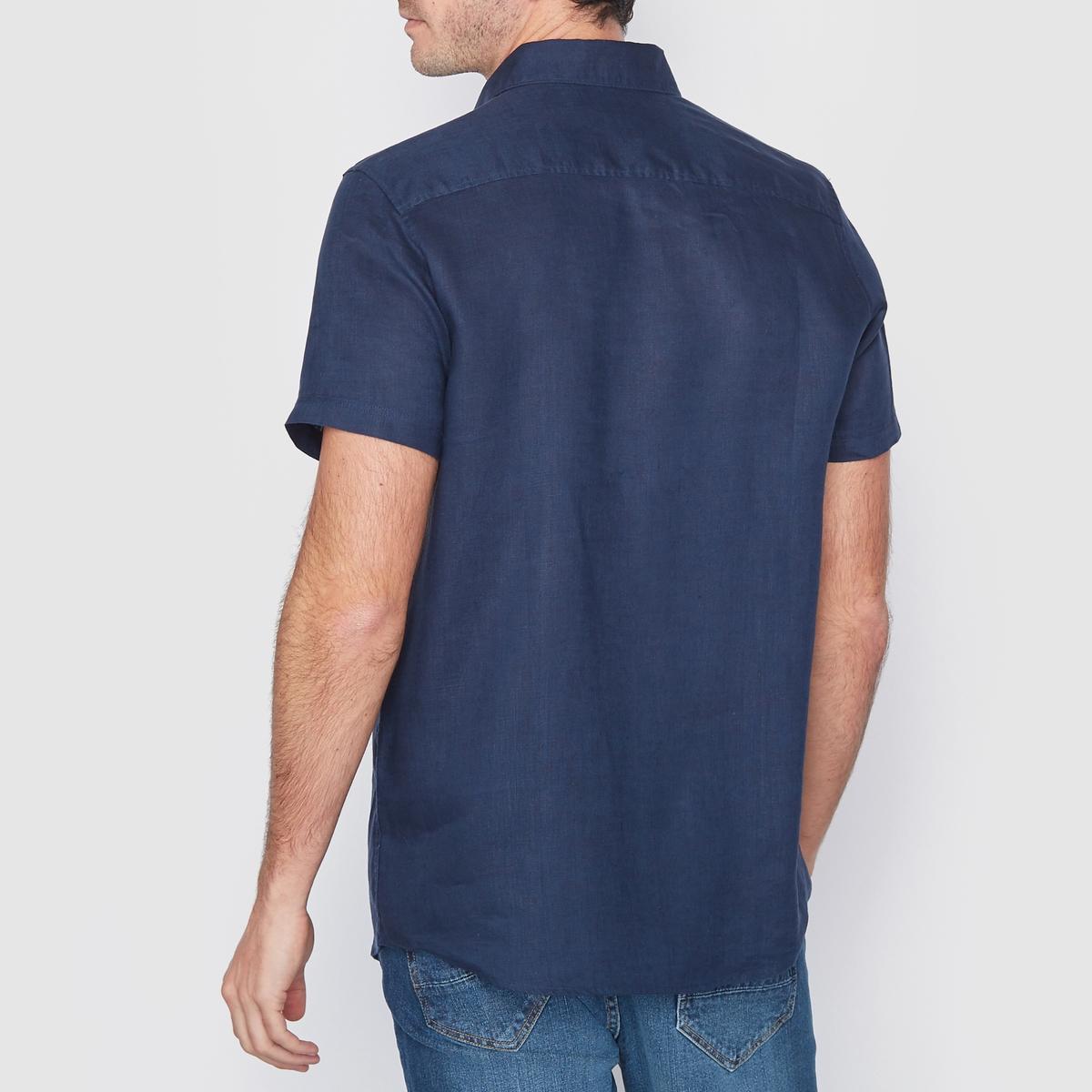 Рубашка прямого покроя 100% ленРубашка, 100% лен. Стандартный (прямой) покрой. Воротник со свободными уголками. Короткие рукава. Длина 77 см.<br><br>Цвет: белый,голубой меланж,песочный,серо-коричневый,темно-синий,черный<br>Размер: 39/40.39/40.35/36.43/44.35/36.37/38.39/40.43/44.47/48.35/36.37/38.47/48.37/38.35/36.37/38.39/40