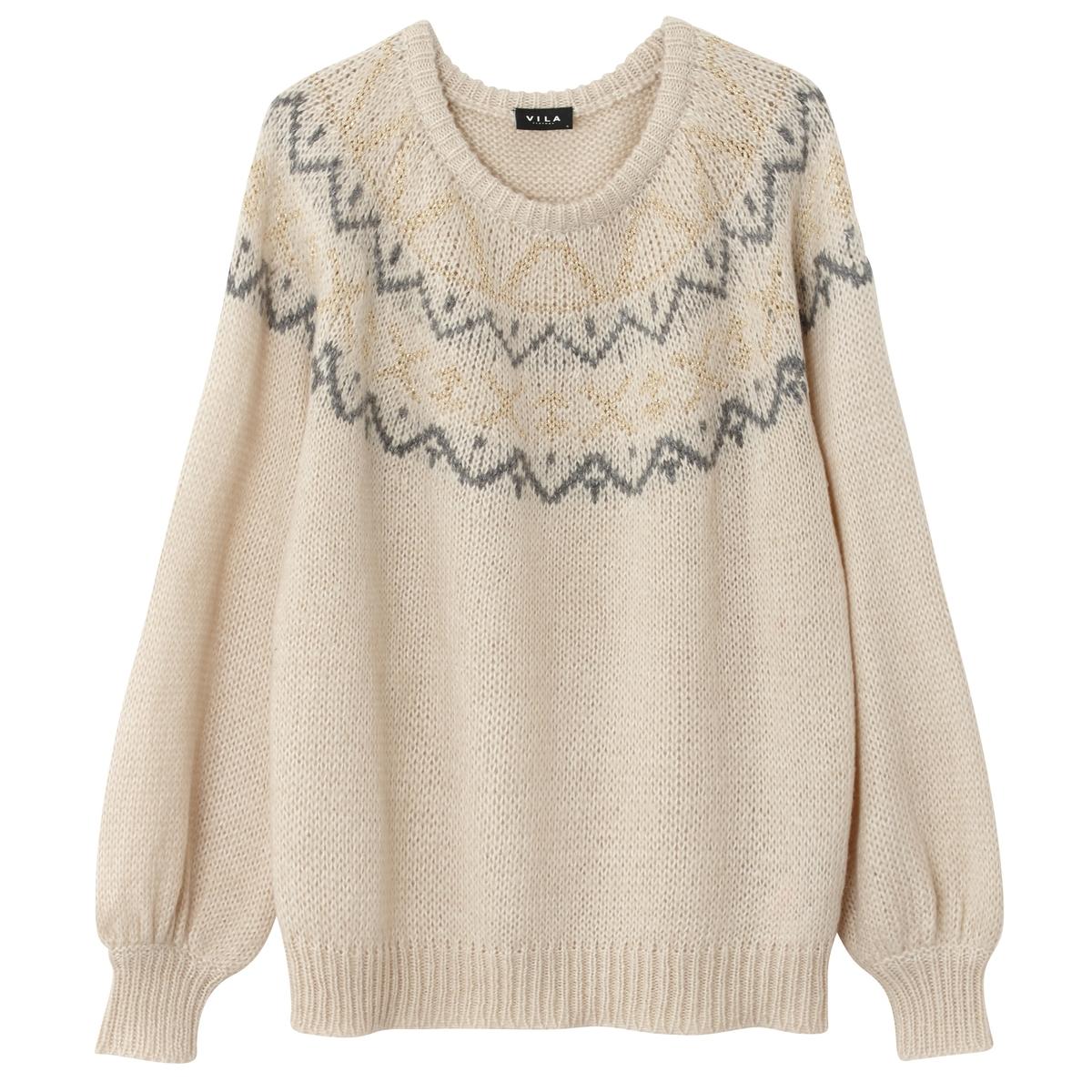 Пуловер с круглым вырезом из полиуретанаМатериал : 5% шерсти, 53% акрила, 5% альпаки, 2% металлизированных волоконДлина рукава : Длинные рукава   Форма воротника : Круглый вырез   Покрой пуловера : стандартный Рисунок : Однотонная модель<br><br>Цвет: экрю<br>Размер: L.S