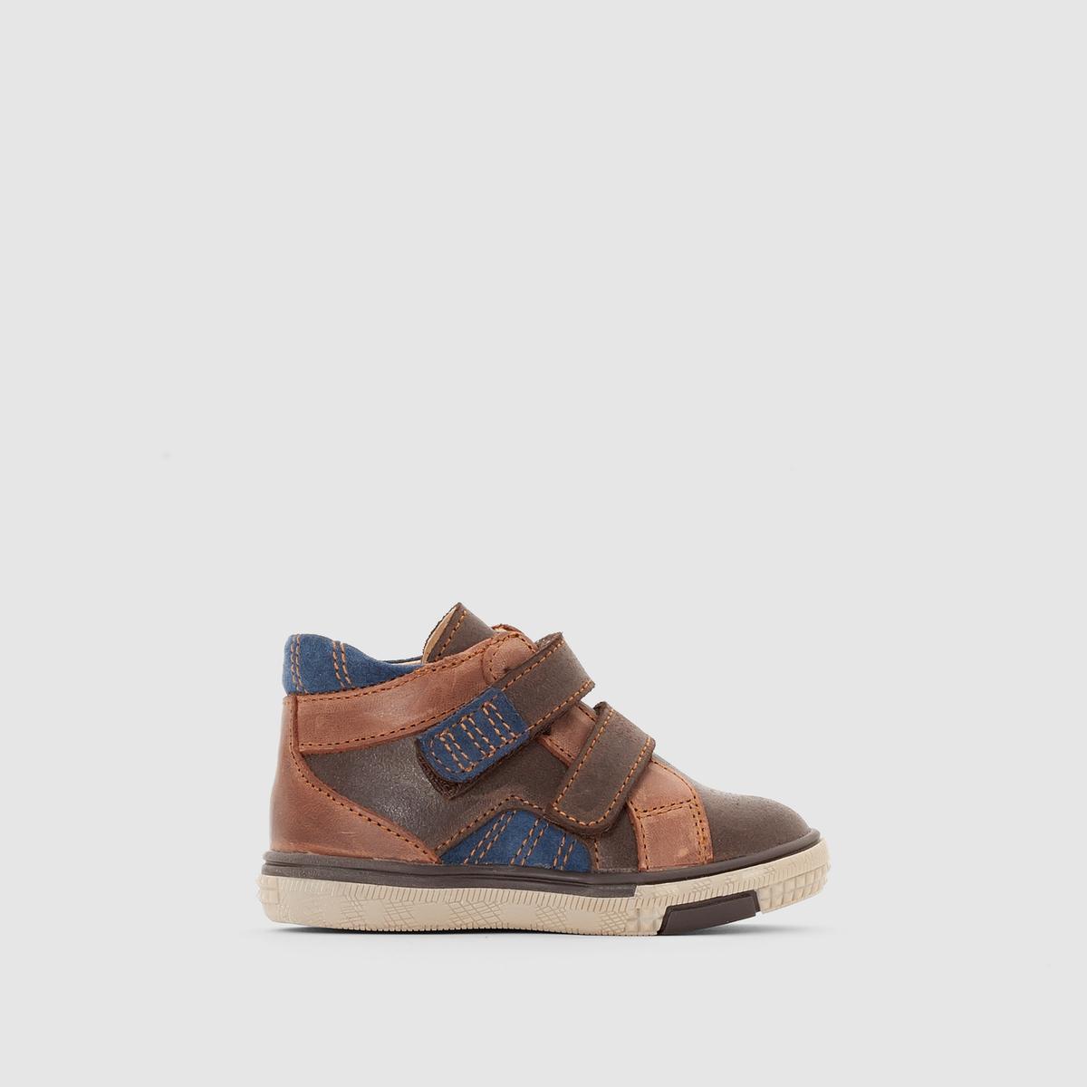 Ботинки из кожи на планке-велкроПреимущества : ботинки abcd'R в стиле нео-ретро с супер практичной застежкой на липучке, невероятно удобные при носке .<br><br>Цвет: каштановый<br>Размер: 21