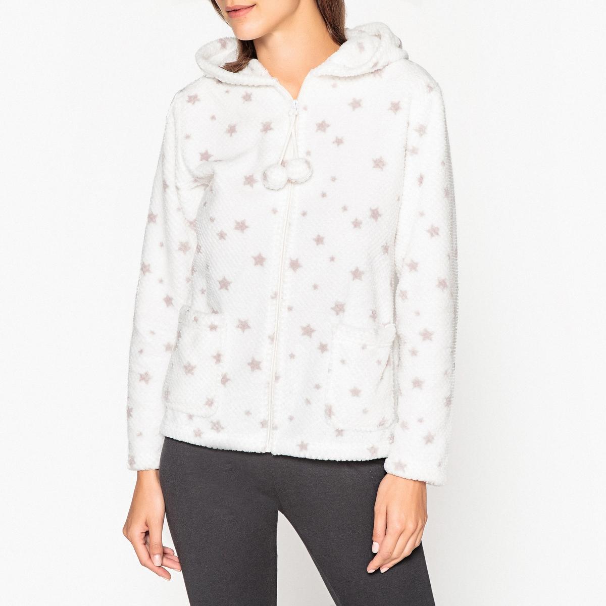 Куртка домашняя на молнии с помпонами и капюшоном