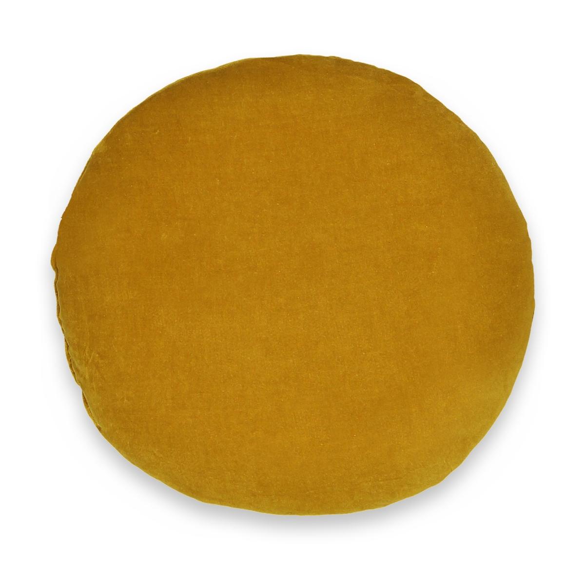 Подушка La Redoute Плоская круглая на стул из велюра VELVET единый размер каштановый