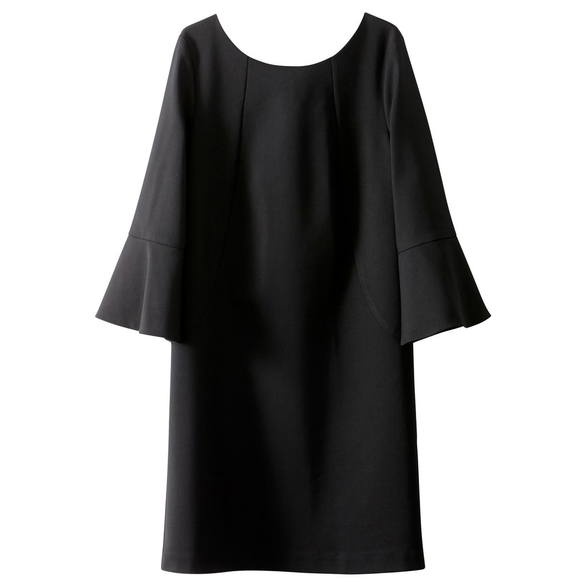 Платье прямое с оригинальной спинкой и воланамиДетали •  Форма : прямая •  Укороченная модель •  Длинные рукава    •  Круглый вырезСостав и уход •  51% хлопка, 4% эластана, 45% полиэстера •  Подкладка : 100% хлопок •  Температура стирки при 30° на деликатном режиме   •  Сухая чистка и отбеливание запрещены • Барабанная сушка на деликатном режиме   •  Низкая температура глажки •  Длина  : 88 см<br><br>Цвет: красный карминный,черный<br>Размер: 38 (FR) - 44 (RUS).44 (FR) - 50 (RUS)
