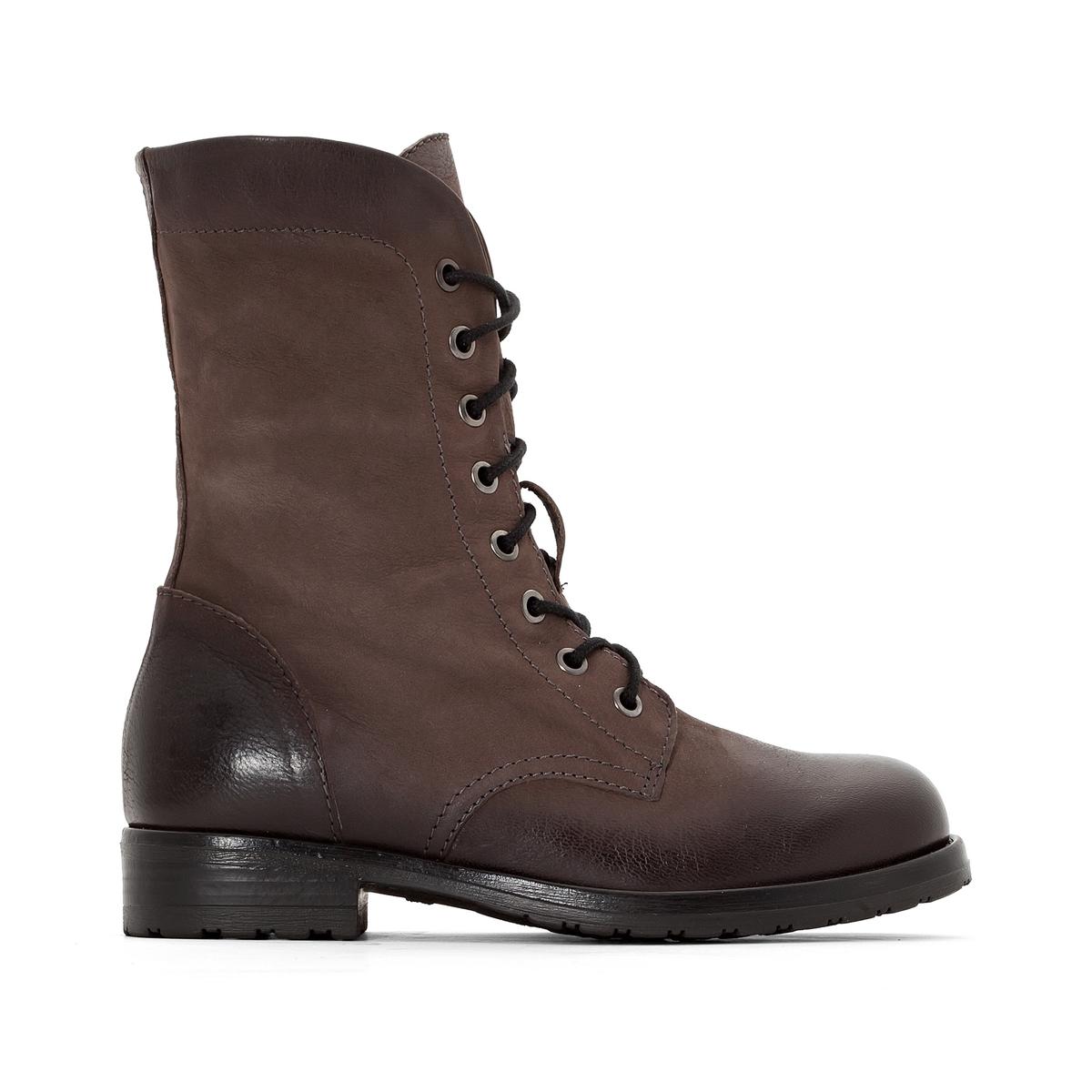 Ботинки кожаные с отворотами, MINOA RIVERПодкладка: Текстиль.     Стелька: Кожа.Подошва: Каучук.                       Высота каблука: 3 см.  Высота голенища: 19 см.Форма каблука: Широкая.   Мысок: Круглый. Застежка: Без застежки.<br><br>Цвет: серо-коричневый<br>Размер: 37