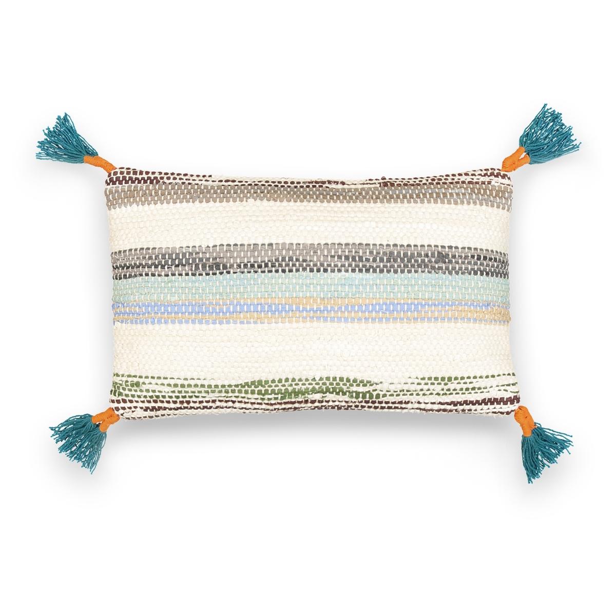 Чехол на подушку-валик из переработанного хлопка, HamadaЧехол на подушку-валик Hamada. Красивый рисунок в полоску, отделка оригинальными кисточками по 4 углам, чехол из 100% переработанного хлопка. Застежка на скрытую молнию сзади. Размеры : 50 x 30 см. Подушка-валик продается отдельно на нашем сайте.<br><br>Цвет: экрю