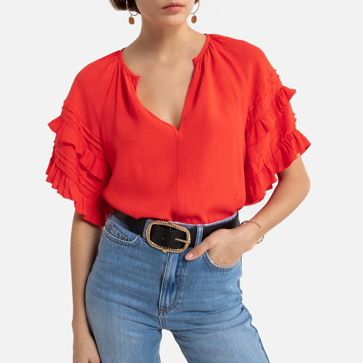 Фото - Блузка LaRedoute С V-образным вырезом и короткими рукавами 1(S) красный футболка laredoute из льна с v образным вырезом и короткими рукавами s черный