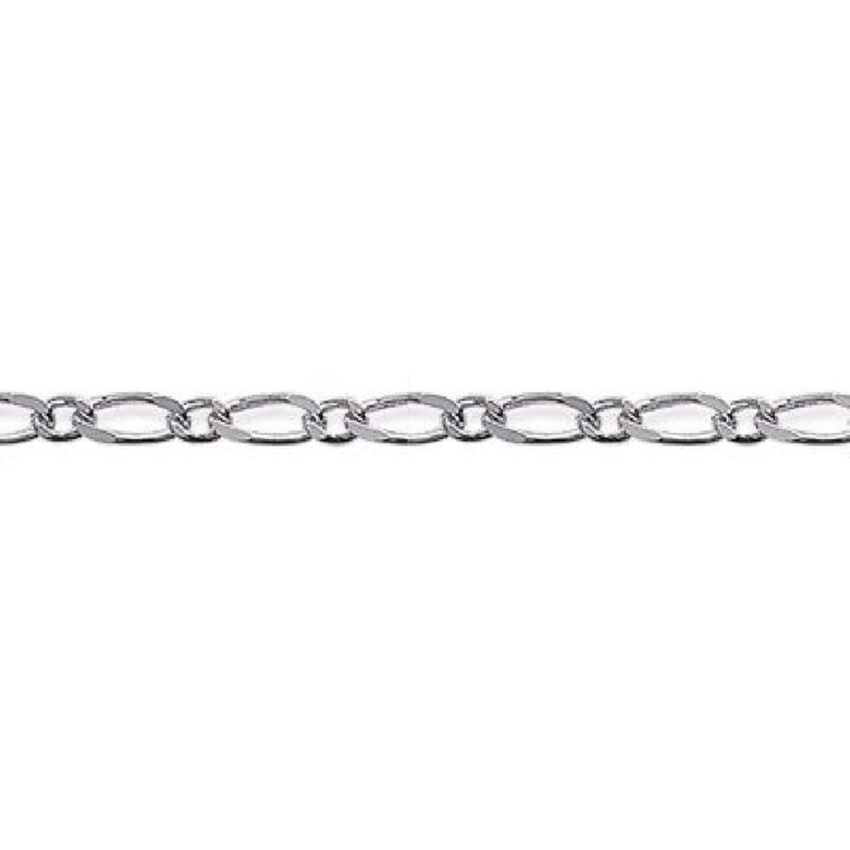 Chaîne 40 cm Maille Figaro 1-1 Diamantée 1,5 mm Cou Argent 925