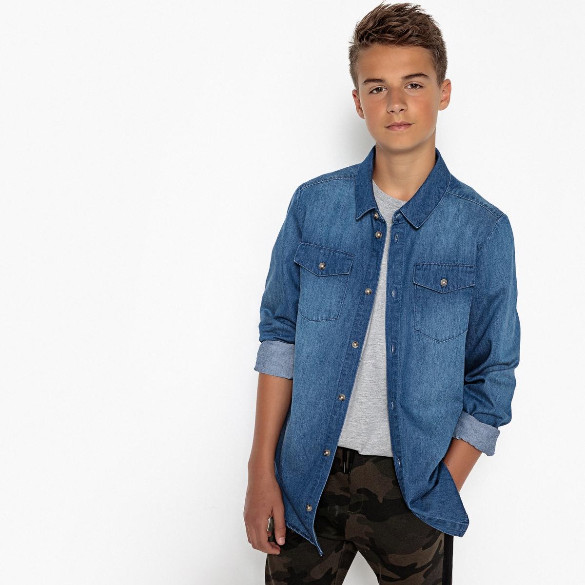 Рубашка La Redoute Джинсовая 16 лет - 174 см синий рубашка la redoute джинсовая узкая jjesheridan s синий