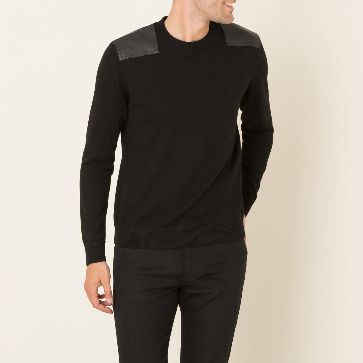 Пуловер мужской из двух материаловСостав и описание    Материал : 100% мериносовой шерсти   Вставки : 100% кожа ягненка    Марка : THE KOOPLES<br><br>Цвет: черный