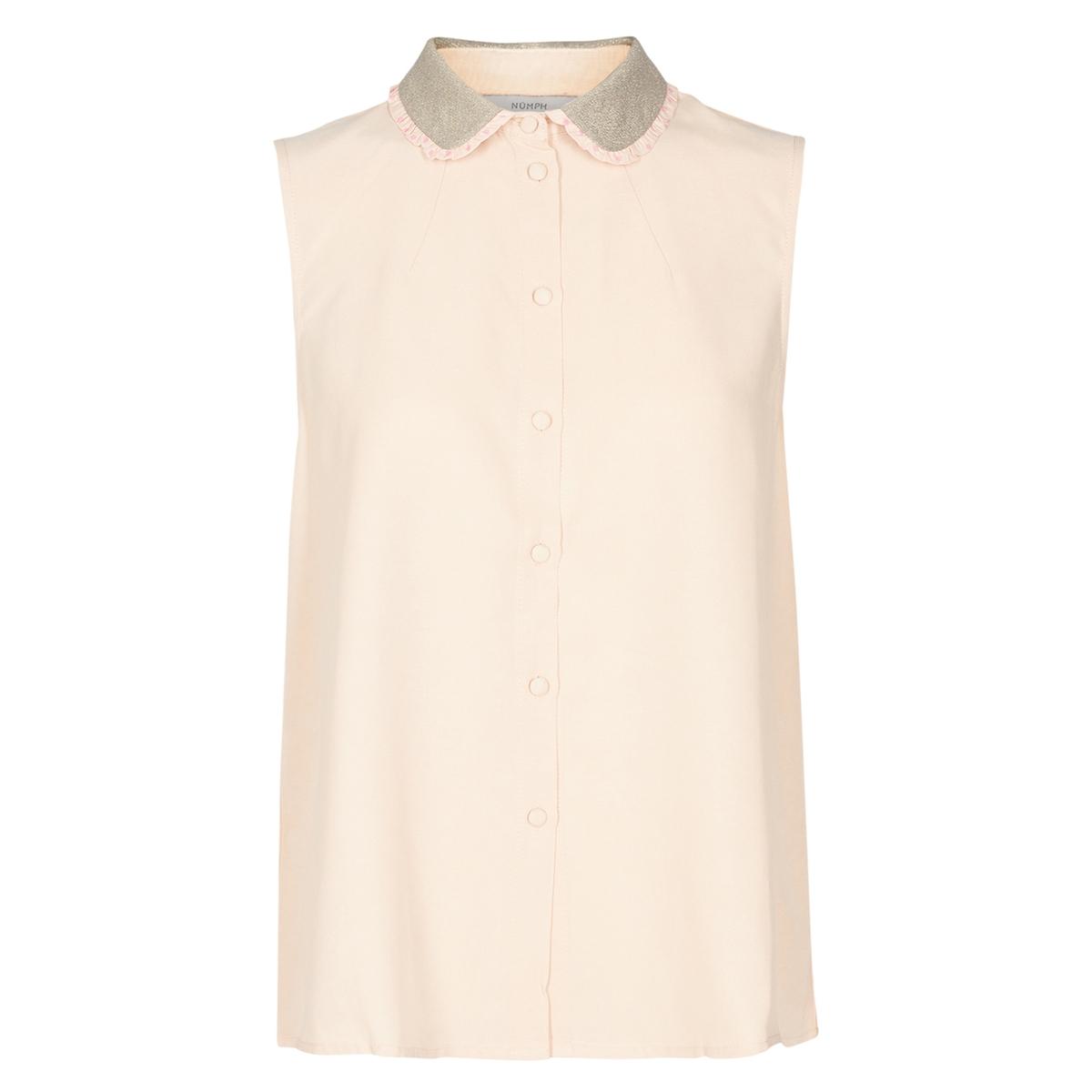 Рубашка однотонная с воротником-поло без рукавовОписаниеДетали •  Без рукавов •  Рубашечный воротник полоСостав и уход •  54% вискозы, 46% купро •  Следуйте советам по уходу, указанным на этикетке<br><br>Цвет: розовый