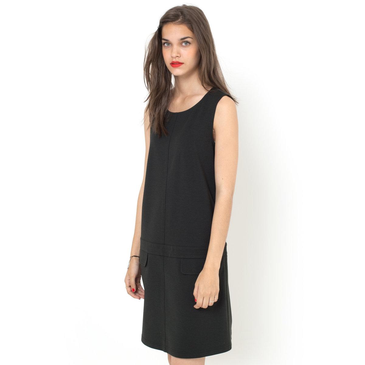 Платье без рукавов из плотного трикотажа