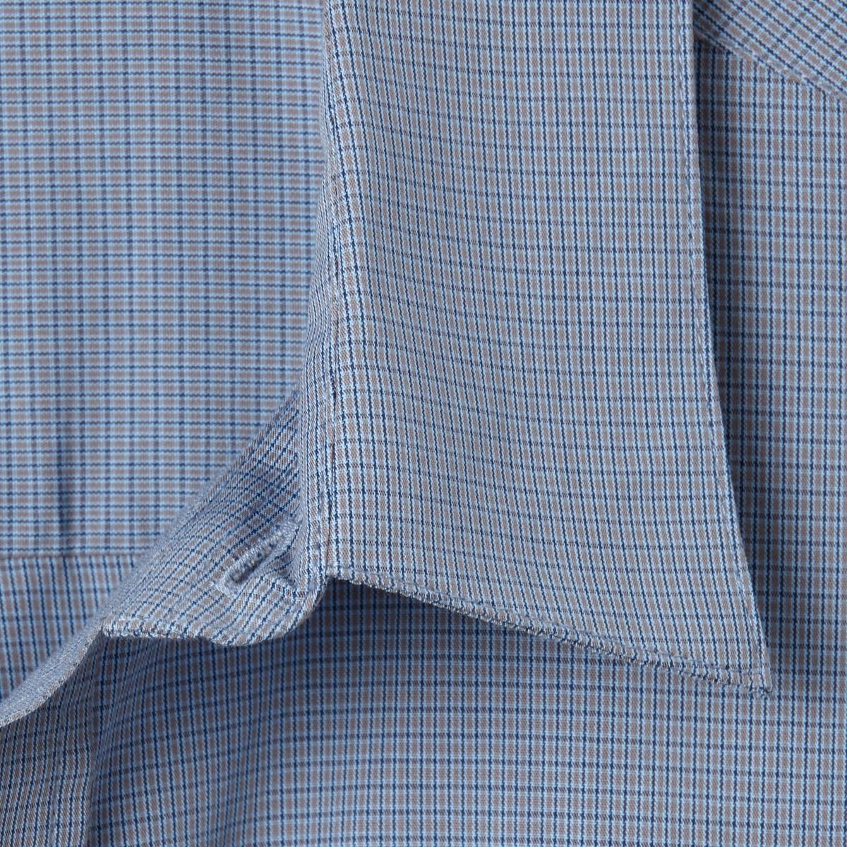 Рубашка из поплина, рост 2 (от 1,76 до 1,87 м)Рубашка с длинными рукавами.  Из оригинального поплина в полоску или в клетку с окрашенными волокнами. Воротник со свободными уголками. 1 нагрудный карман. Складка с вешалкой сзади. Слегка закругленный низ.Поплин, 100% хлопок. Рост 2 (при росте от 1,76 до 1,87 м) :  длина рубашки 85 см, длина рукава 65 см. Есть модели на рост 1 и 3.<br><br>Цвет: в клетку серый/синий,в полоску бордовый/белый<br>Размер: 41/42