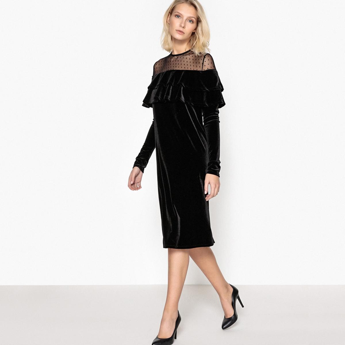 Платье из велюра с воланом