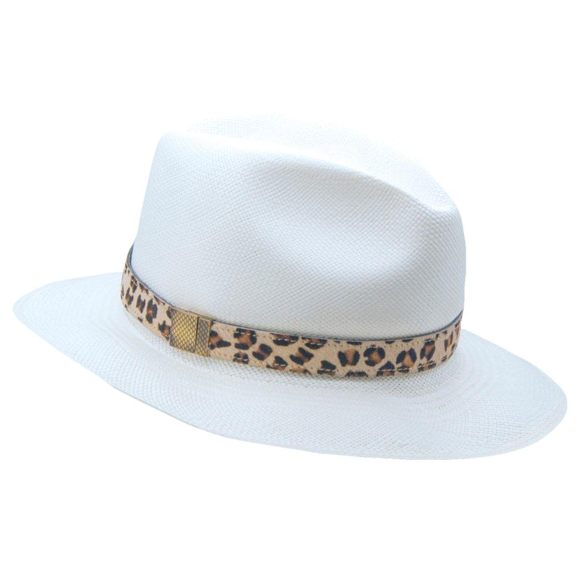 Chapeau panama en paille blanc ruban interchangeable en cuir