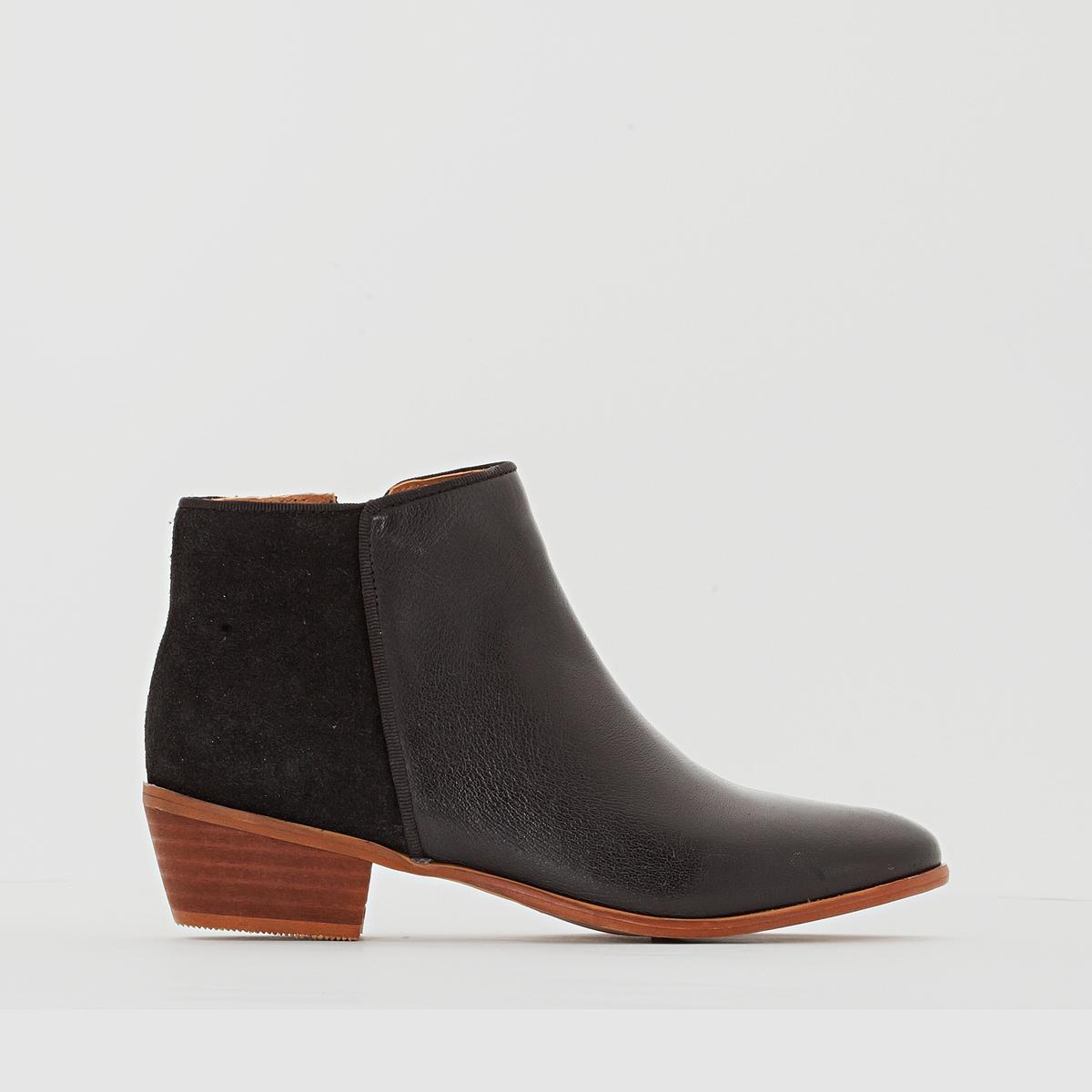 Ботильоны кожаные на каблуке в стиле вестерн ботинки в стиле вестерн
