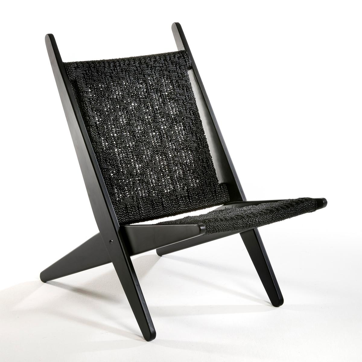 Складное кресло AncelieКресло Ancelie. Складное кресло, очень удобное благодаря плетеной спинке и сиденью.Характеристики: - Из красного дерева с матовой отделкой черного цвета.- Плетеная спинка и сиденье из волокон гиацинта.- Складное.Размеры: - Ш.51 x В.73 x Г.85 см.- Сиденье: Ш.46 x Г.53 см.<br><br>Цвет: черный