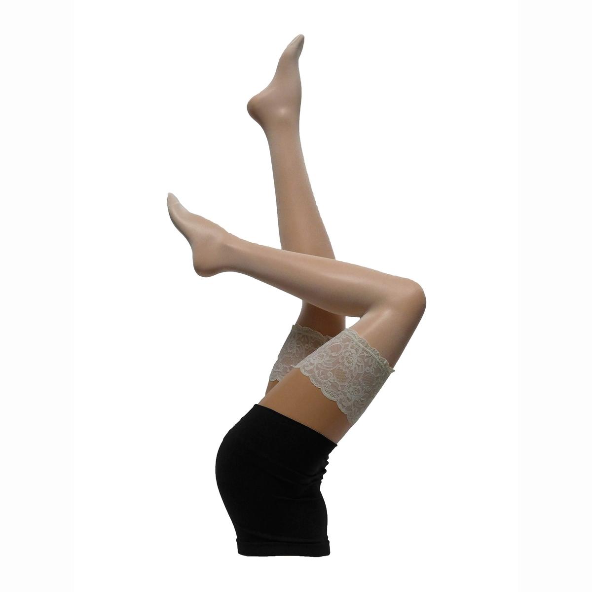 Чулки с отворотом из кружеваЧулки PARIS тонкие и блестящие, LYCRA, на подкладке из кружева, усиленные прозрачные носки, широкий отворот из кружева . 90% полиамида, 10% эластана.<br><br>Цвет: черный,экрю<br>Размер: XL.XXL.3XL.M