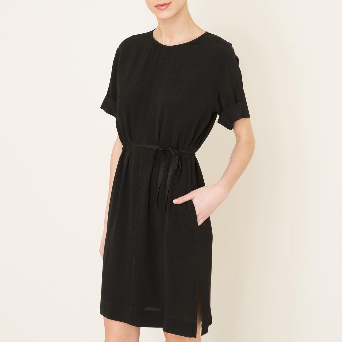 Платье с короткими рукавамиСостав и описание   Материал : 100% вискоза   Марка : POMANDERE<br><br>Цвет: черный