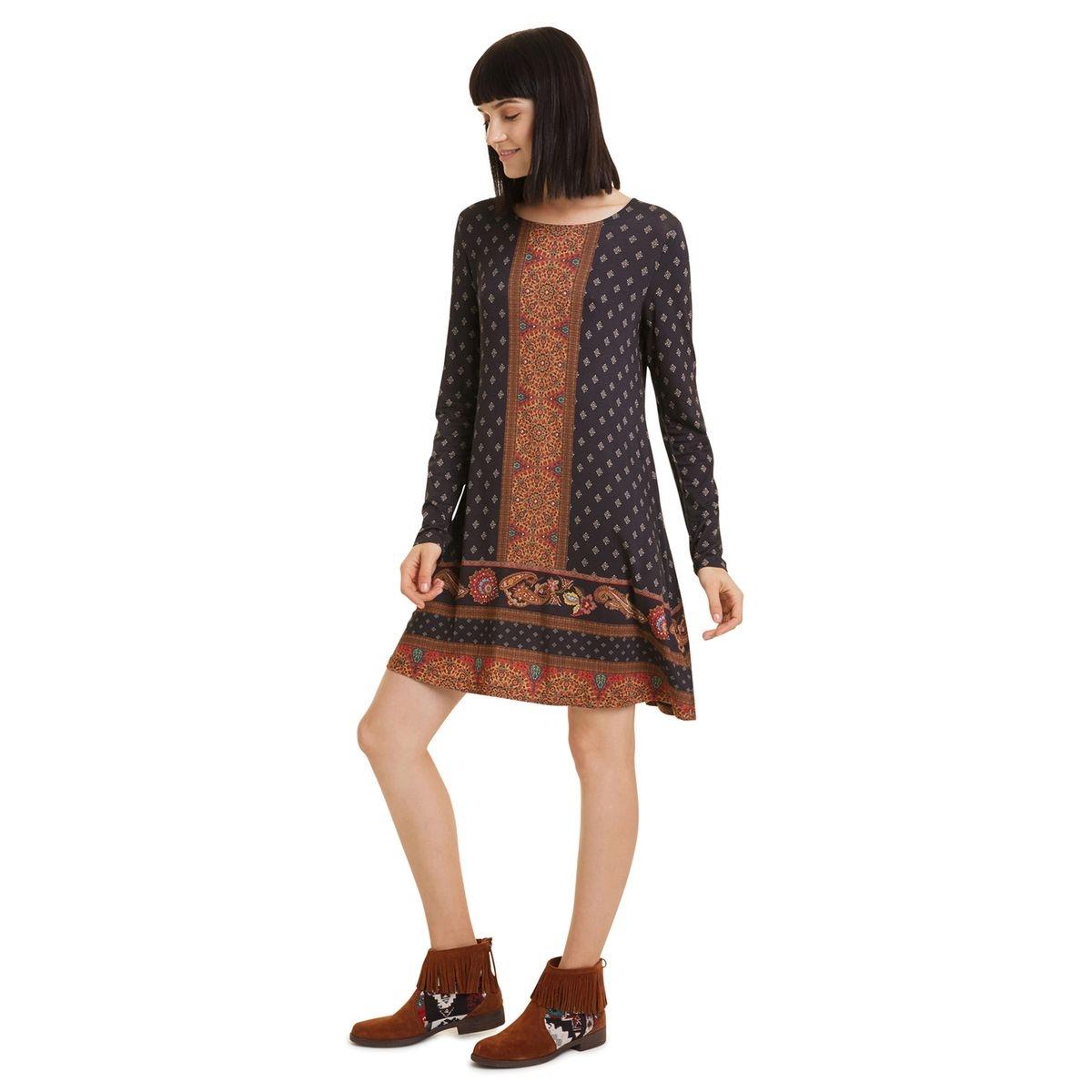 Robe Camille courte évasée imprimé foulard