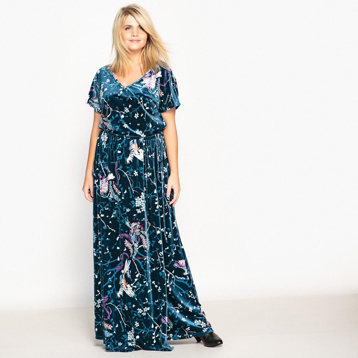 Платье-макси трикотажное с рисунком и короткими рукавамиОписание:Очень женственное длинное платье из велюрового трикотажа. Козыри длинного платья : великолепный рисунок и очень мягкий велюровый трикотаж.Детали   •  Форма : прямая •  Длина ниже колен •  Короткие рукава    •   V-образный вырез •  Рисунок-принтСостав и уход •  8% эластана, 92% полиэстера •  Температура стирки 30° на деликатном режиме   •  Не использовать сухую чистку / не отбеливать   •  Не использовать барабанную сушку   •  Низкая температура глажки Товар из коллекции больших размеров<br><br>Цвет: рисунок японский<br>Размер: 42 (FR) - 48 (RUS).44 (FR) - 50 (RUS).50 (FR) - 56 (RUS).46 (FR) - 52 (RUS)