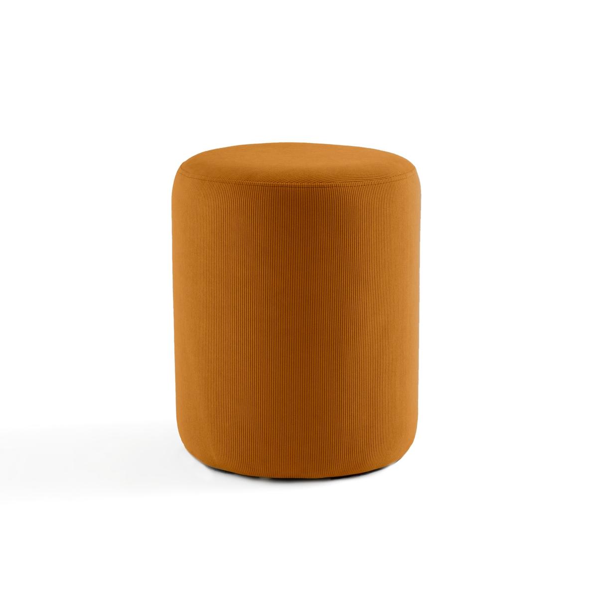 Пуф LaRedoute Из велюра в рубчик Lenou единый размер желтый