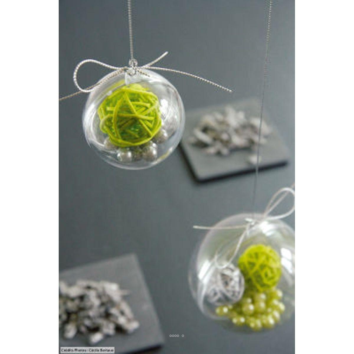 Boule PVC transparente à garnir D 5 cm - boule pvc transparente garnir: D 5 CM